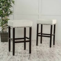 Off White Leather Bar stools (set of 2) Los Angeles, 91303