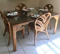 rectangular brown wooden table with six chairs dining set 771 mi