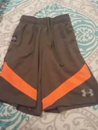brown and orange Under Armour sweat shorts