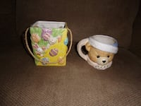 Selling Porcelain Teddy BEAR CUP MUG & EASTER BUNNY Eggs Bag - Collectibles Sale Fleetwood