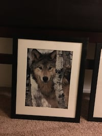 black wooden framed painting of wolf Vallejo, 94589