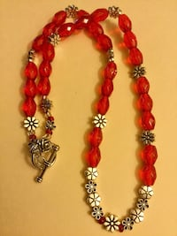 Ruby Red Crystals and silver flowers fashion necklace / Summer fashion hand made new jewelry Alexandria, 22311