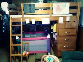 Bunk bed .with dresser. And desk that goes on bottom