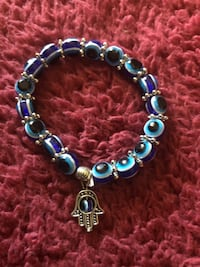 Evil eye bracelet with hamsa hand movable evil eye charm Asheville