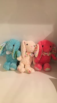 pink, blue, and red rabbit plush toys 39 km