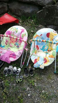 baby's two white, pink and green bouncer