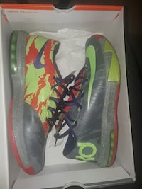 gray green and orange Nike KD basketball shoes