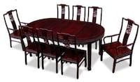 Rosewood Dining Table, 80 Inches Bird and Flower Design Oval Dining Set with 8 Chairs Dark Cherry Finish Richmond, 23220