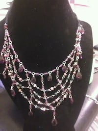 silver and pink beaded necklace