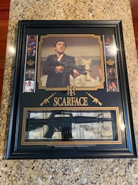 "scarface shadowbox with replica gun and bullets 31""x 25"" Langford, V9B 0G8"