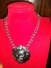 silver chain link necklace with pendant