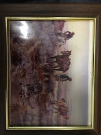 brown wooden framed painting of brown tree Shalimar, 32579