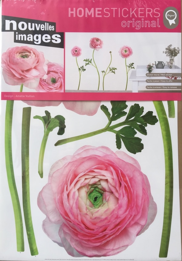 Home Déco Stickers mural Floral Renoncules roses