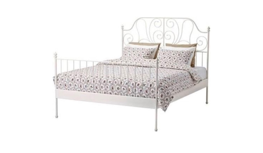Photo IKEA queen sized Leievikwrought iron bed frame,like new!Can deliver!