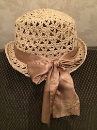 Woven Hat with Silk Bow Vaughan, L4H 1K8