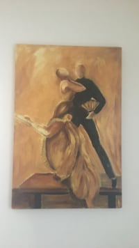 painting of woman and man dancing