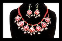 women's red beaded chunky necklace Jaipur