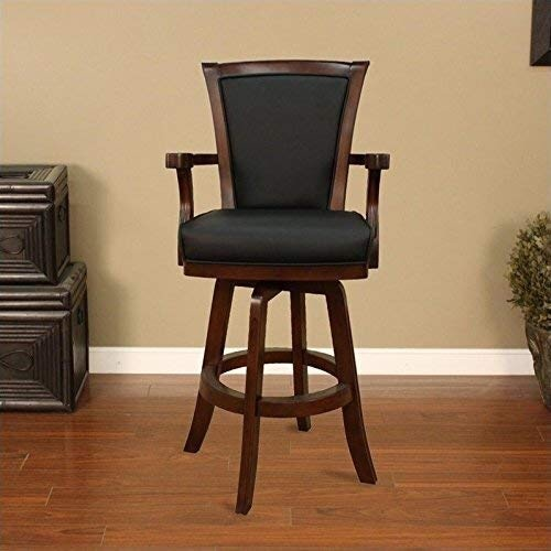 Photo Leather Bar Stool Chair 48 Tall Wood Frame Stool American Heritage