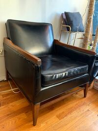 Midcentury Leather and Wood Armchair New York, 11238