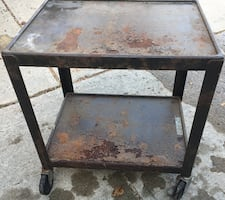 Rolling steel cart – vintage with rubber locking wheels