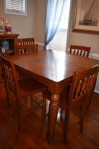 Brown wooden 5 piece square dining set \