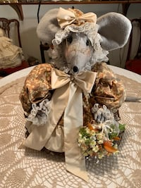 Stuffed Granny mouse with basket of flowers Edmonton, T6C 4C8