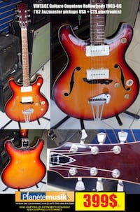 Vintage Made in Japan Guitare Guyatone Hollowbody  1965-66 LAVAL
