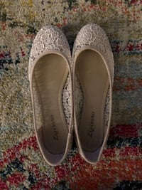 Pair of off white, lacy flats
