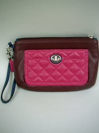Coach Brown/Red Quilted Wristlet Lancaster
