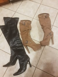 two pair of black and brown pump-heeled knee-high boots Calgary, T3H 2C3