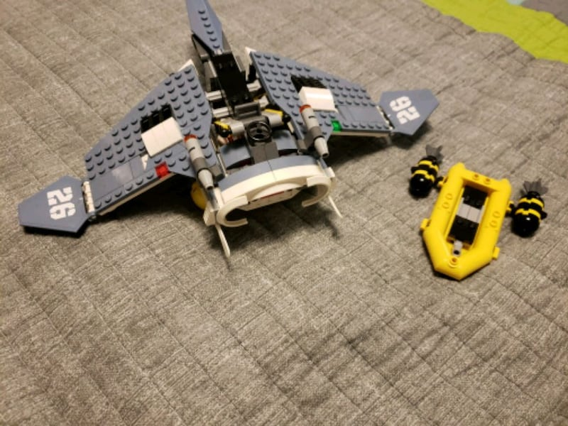 Lego Aircraft with Missle And Raft c04cb9d5-abaa-4e94-a1f7-c2600f6d36c2