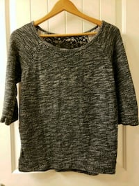 Grey Knit Sweater with Black Lace Back, Size M Vancouver, V6B 6N8