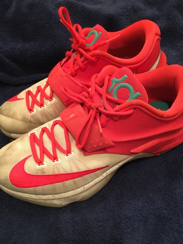 ef14d5ab2a88 Used Pair of red-white-and-green Nike Kevin Durant basketball shoes for  sale in Colleyville - letgo
