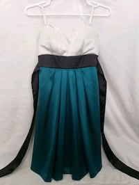 White and green formal dress with ribbon for bow