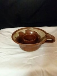 brown and white ceramic candle holder Nappanee, 46550