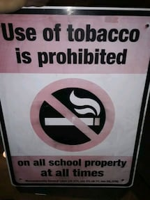 SALE PRICE NO SMOKING SIGN IN SCHOOL AREA 2FT TALL 18 INCHES WIDE ALUM