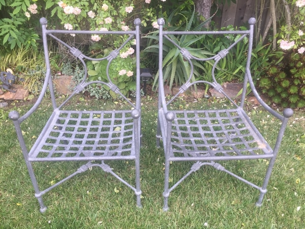 2 Wrought Iron Patio Chairs With Sunbrella Cushions