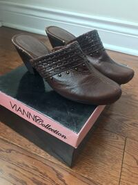 pair of brown leather loafers with box Toronto