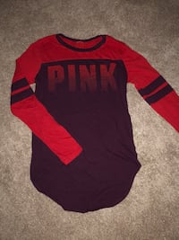 Red and maroon victoria's secret long-sleeved shirt
