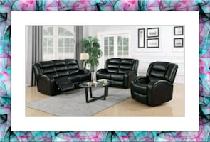 Black faux leather recliner Sofa and Loveseat