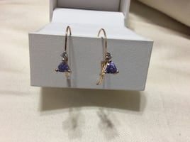 Tanzanite and Diamond Earrings Set in 10kt Yellow Gold