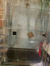 Clear and black plastic display cabinet