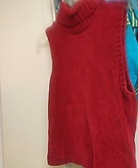 red turtle neck sleeveless blouse