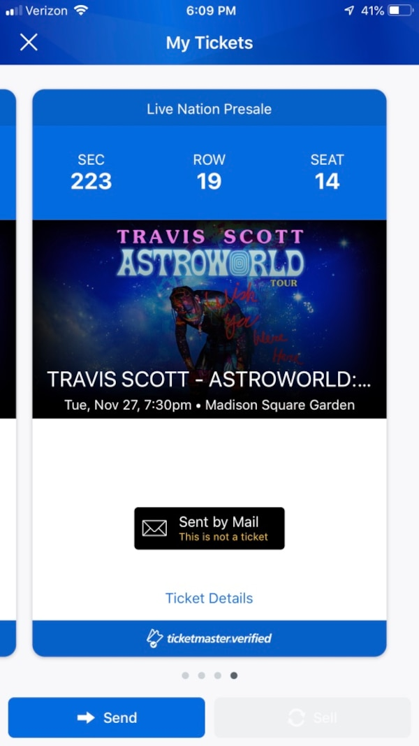 87e879f4c709 Used 2 tickets Travis Scott Astroworld November 27 for sale in New York
