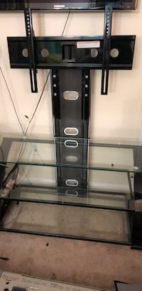Black metal framed glass tv stand 60 km