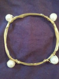 Freshwater pearl & gold wire wrapped bracelet  Mobile