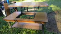 brown wooden table with bench 1351 mi
