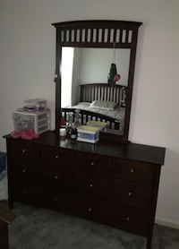 Queen bet set long dresser with mirror and bed frame and bed Newport News, 23608