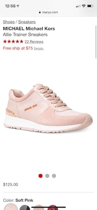 Michael Kors Allie Trainer soft pink rose gold women's sneakers size 8 Fontana, 92335