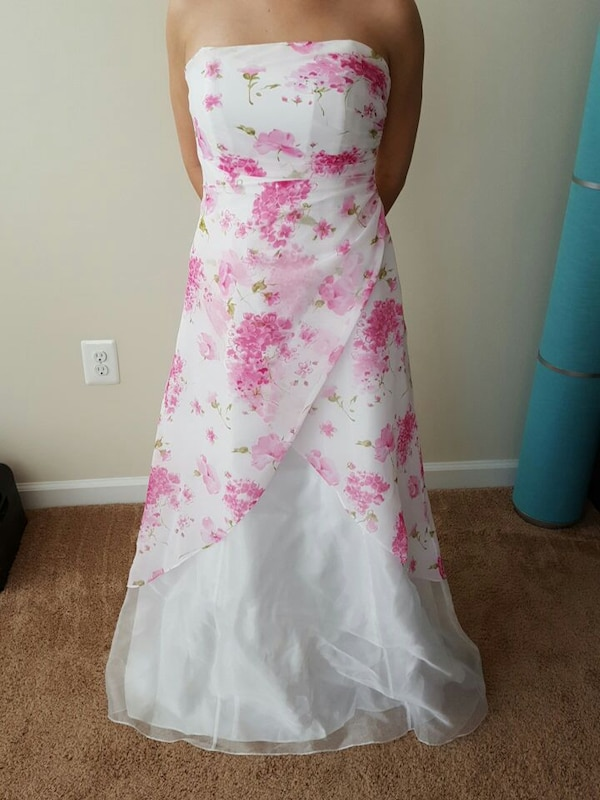 white, pink, and green floral strapless dr